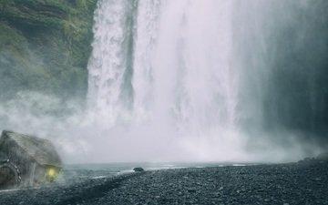 река, природа, водопад, исландия, хижина