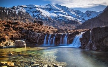 lake, mountains, snow, stones, waterfall, chile, andes, patagonia