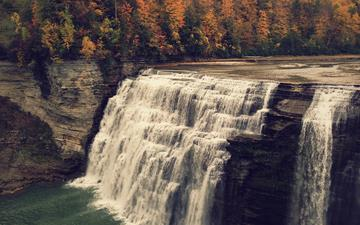 деревья, вода, скалы, водопад, осень, обрыв, каскад