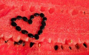 ягода, сердце, арбуз, ломтики, семена, мякоть