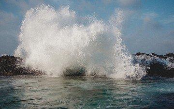 the sky, rocks, stones, shore, wave, sea, the ocean, surf, splash
