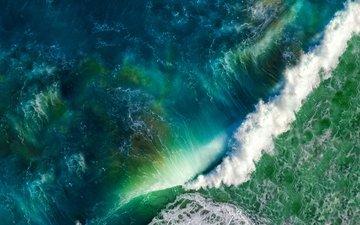 природа, волны, море, вид сверху, океан, сверху