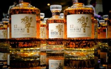 отражение, напиток, бутылки, алкоголь, виски, японский, элитный, hibiki