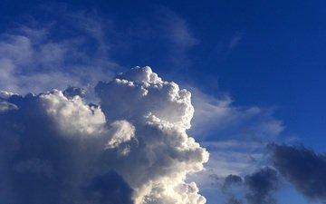 небо, облака, голубое небо, белые облака