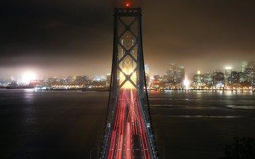 ночь, огни, мост, город, сша, сан-франциско, калифорния