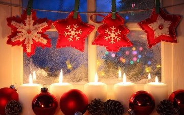 candles, new year, snowflakes, stars, balls, window, christmas, bumps, garland