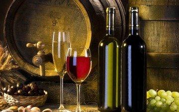 grapes, wine, white, glasses, bottle, barrel, alcohol, red