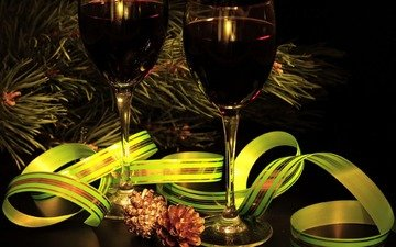 branch, new year, tree, needles, wine, tape, glasses, bumps, red