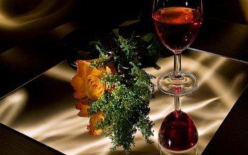 зелень, отражение, цветок, роза, стол, комната, любовь, романтика, вино, красное, натюрморт, фужер