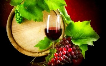 leaves, grapes, glass, wine, barrel, red