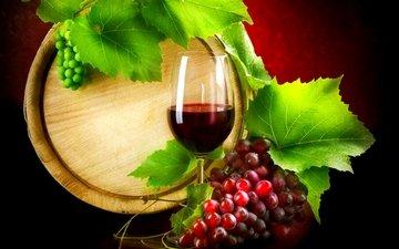 листья, виноград, бокал, вино, бочка, красное