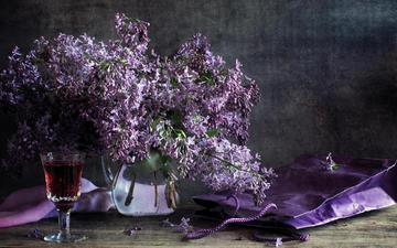 flowers, branches, table, glass, spring, bouquet, wine, vase, package, lilac, still life
