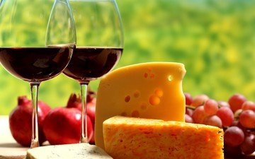 grapes, fruit, cheese, wine, glasses, red, garnet
