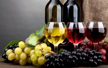 grapes, wine, white, glasses, bottle, red, pink