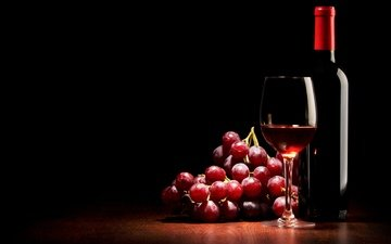 grapes, glass, black background, wine, bottle, red, wine.
