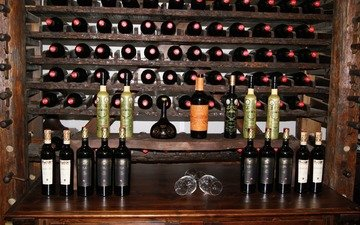 wine, glasses, bottle, alcohol, collection, shelves, wine cellar