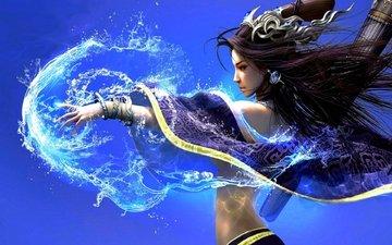 вода, девушка, взгляд, фэнтези, фея, профиль, волосы, лицо, магия, волшебница