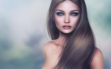 девушка, взгляд, лицо, макияж, пирсинг, длинные волосы, голые плечи