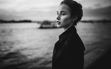 girl, look, black and white, model, profile, face, ivan proskurin