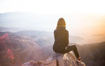 mountains, girl, fog, model, sitting, rear view