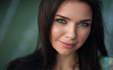 girl, smile, portrait, brunette, look, model, hair, face, dmitry sn