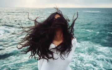 девушка, море, брюнетка, горизонт, модель, волосы, ветер