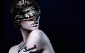 decoration, style, girl, portrait, model, black background, lips, face, makeup, manicure, bare shoulders