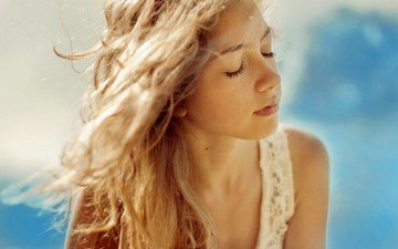 background, blonde, portrait, summer, model, face, long hair, closed eyes