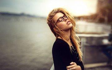 girl, blonde, portrait, glasses, model, face, long hair, closed eyes, kathryn, dani diamond