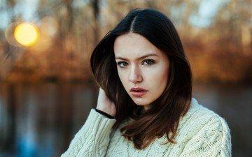 girl, portrait, look, model, lips, face, sweater, long hair, brown eyes