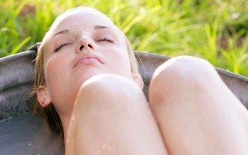 girl, blonde, model, feet, face, bath, closed eyes
