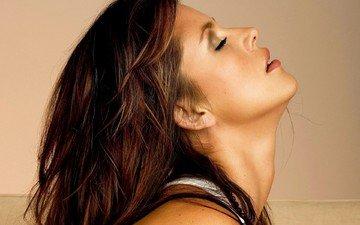 girl, portrait, model, profile, hair, lips, face, closed eyes, alicia machado