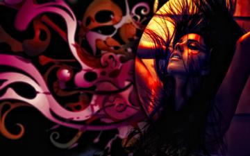 арт, девушка, модель, длинные волосы, закрытые глаза