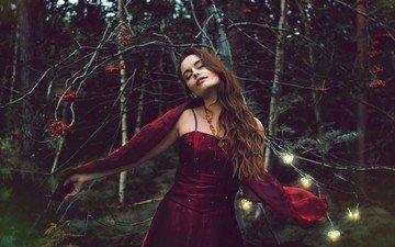 девушка, настроение, фон, платье, ветки, фантазия, модель, длинные волосы, рябина, закрытые глаза