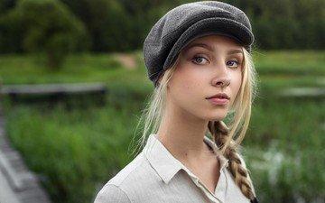 глаза, девушка, блондинка, портрет, модель, лицо, коса, кепка, алиса тарасенко