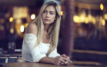 блондинка, модель, лицо, длинные волосы, голые плечи, dani diamond