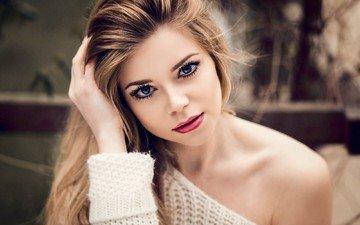 девушка, портрет, взгляд, модель, губы, лицо, помада, красная помада, длинные волосы