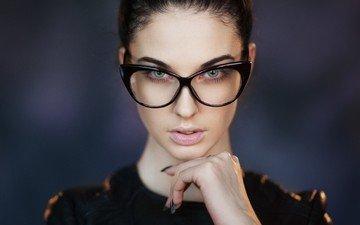 глаза, девушка, портрет, брюнетка, взгляд, очки, модель, губы, лицо, алла бергер, maxim maksimov