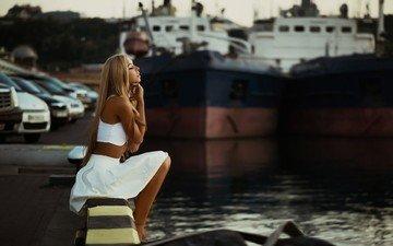 девушка, блондинка, корабль, причал, модель, профиль, сидя, закрытые глаза