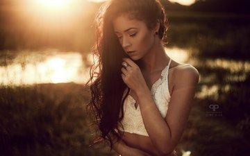 закат, девушка, модель, лицо, длинные волосы, закрытые глаза