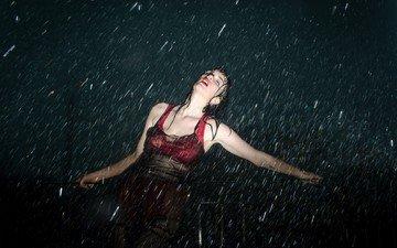 ночь, девушка, модель, дождь, мокрая, закрытые глаза