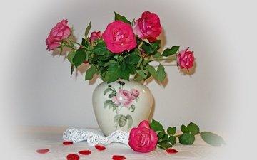 цветы, розы, лепестки, букет, ваза, салфетка, натюрморт