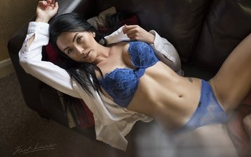 девушка, фото, поза, взгляд, модель, диван
