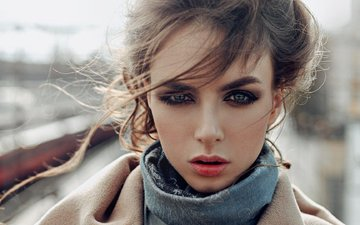 girl, portrait, look, model, hair, lips, face, the wind, george chernyadev, vika
