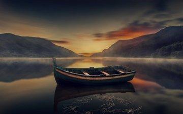 озеро, горы, природа, закат, лодка