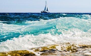 волны, море, горизонт, лодка, прибой, пена, паруса