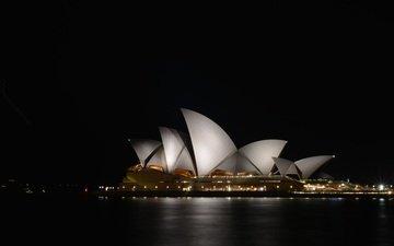 ночь, архитектура, сидней, австралия, сиднейский оперный театр