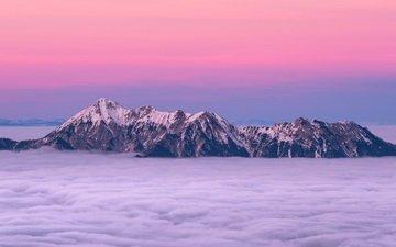 небо, облака, горы, закат, туман, горизонт, вершины, утес