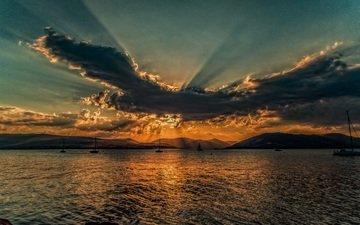 облака, солнце, закат, море, корабль, солнечный свет