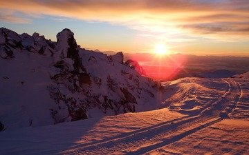 mountains, the sun, snow, nature, sunset, winter, rays, landscape